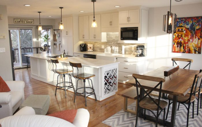 this shows the size and beauty of the entire kitchen remodel